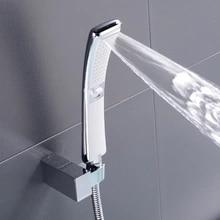 Shower-Head Waterfall Water-Saving-Brushed Hand-Held Rain Black High-Pressure Nickel