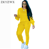 ZKYZWX Ruffle lantern sleeve 2 piece set women pant and top 2018 autumn plus size casual outfit sweat suits two piece tracksuit