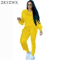 Zkyzwx рюшами фонарь рукав комплект из 2 предметов женщин брюки и топ 2018 осень большие размеры повседневная одежда спортивные костюмы комплект...