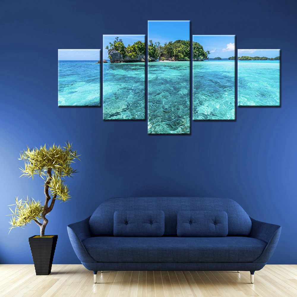 Blue Sea Ocean Picture Of The Island Wall Art Canvas Print