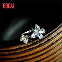 Bud / produced 925 Silver Moonstone Ring European style retro blue moon butterfly ring ring