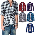 2016 Men's Cotton Turn-down Collar Plaid Double Beasted Full Sleeves Casual Shirt 8OHU