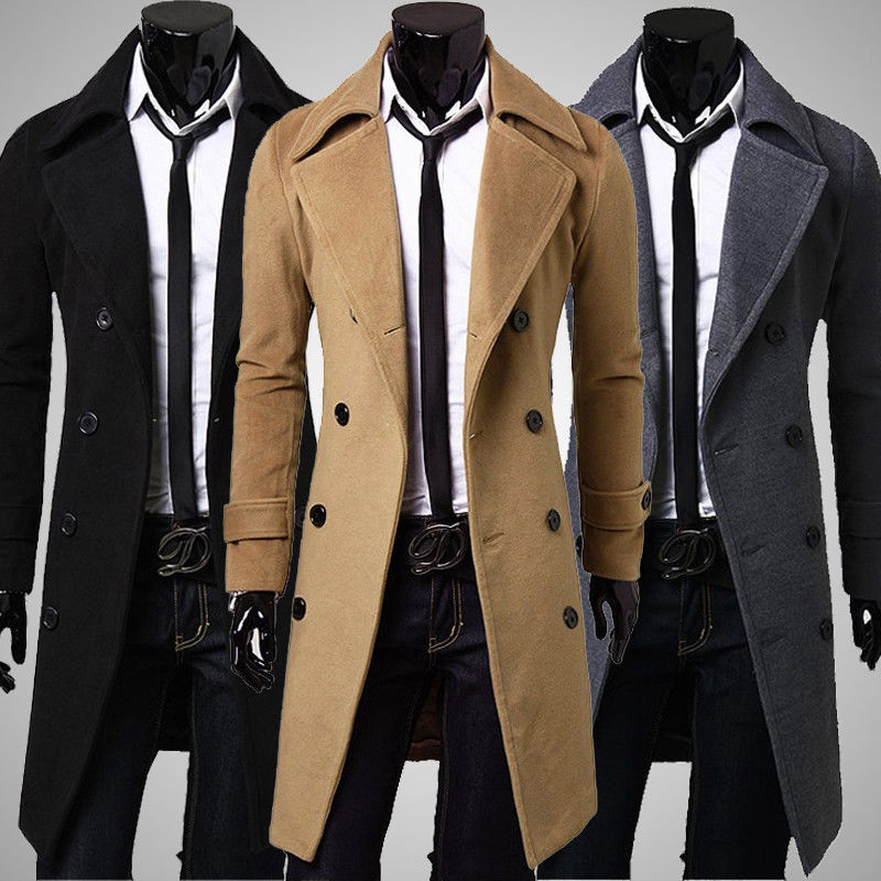Men Stylish Double Breasted Slim Warmer Winter Long Trench Coat Overcoat Jacket