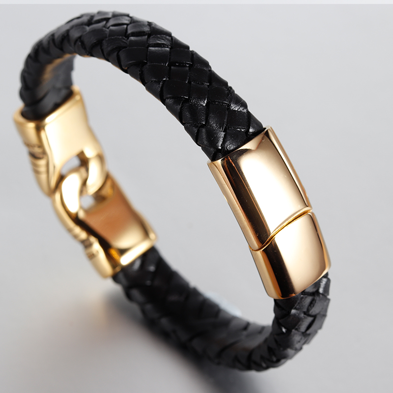 Charm Leather Bracelet For Women Stainless Steel 19cm,21cm size Genuine Leather Bracelets & Bangles Men Jewelry Leather gold