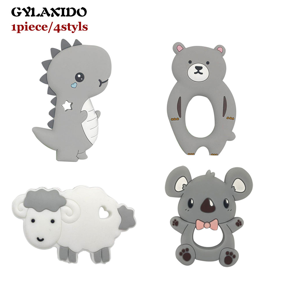 Koala Bear Sheep Silicone Teether Animal Baby Teething Toys Dinosaurs Rainbow Teether Baby Cartoon Nursing Necklace Mordedor