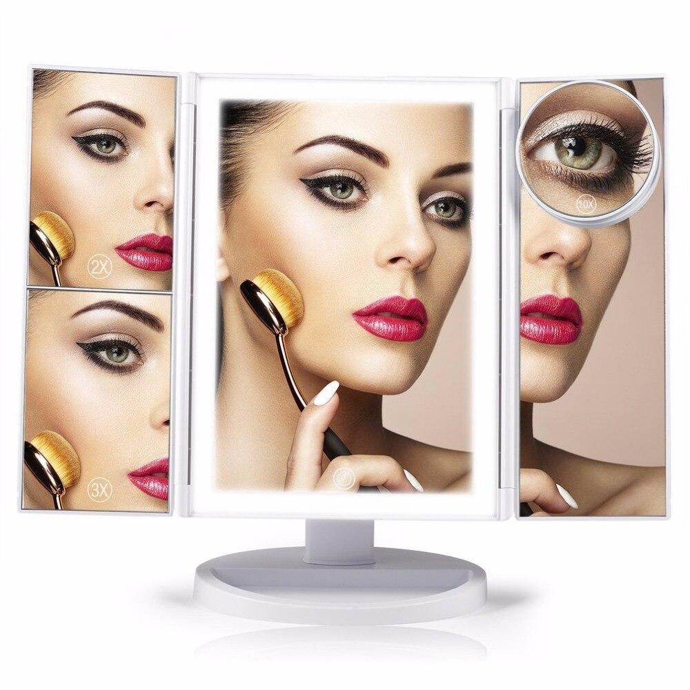 цена на LED Touch Screen Makeup Mirror 4 in 1Folding Desktop Mirror Lights 1X 2X 3X 10X Magnifying Mirrors USB Lamp Beauty Make up Tool