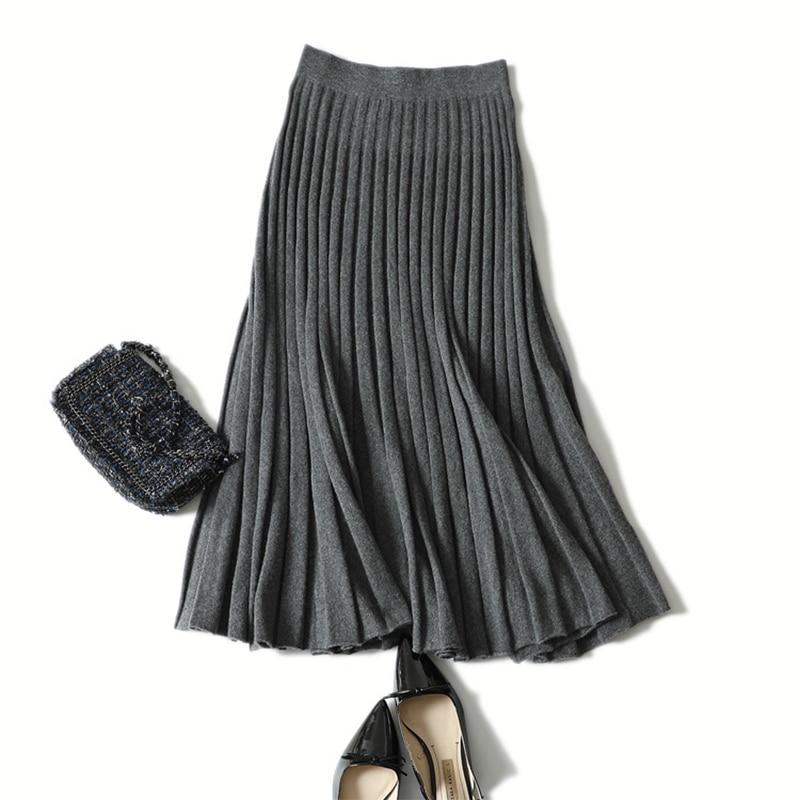 Shuchan Alta Longitud Mujeres 17383 Gruesa Las Cintura Moda Streetwear Invierno 17383 17383 La Falda De Cachemira Punto Plisada 100 rr4FwzqZP