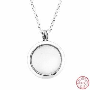 Image 2 - Colliers et pendentifs de médaillon flottant étincelant en argent Sterling 925 bijoux avec verre en cristal saphir et clair CZ FLN041