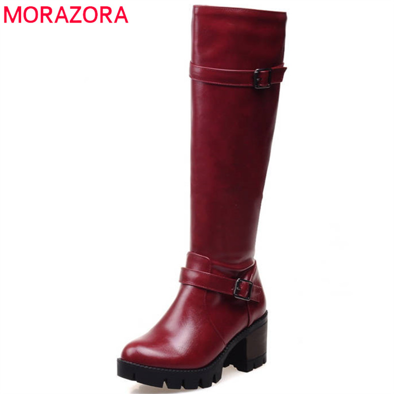 MORAZORA 2018 new arrival knee high boots women zip buckle fashion platform boots round toe pu winter snow boots casual shoes цена 2017
