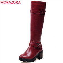 MORAZORA 2020 חדש הגעה הברך גבוהה מגפי נשים zip אבזם אופנה פלטפורמת מגפי בוהן עגול pu חורף שלג מגפי נעליים יומיומיות