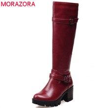 Morazora 2020 nova chegada do joelho botas altas mulheres zip fivela moda plataforma botas dedo do pé redondo pu botas de neve inverno sapatos casuais