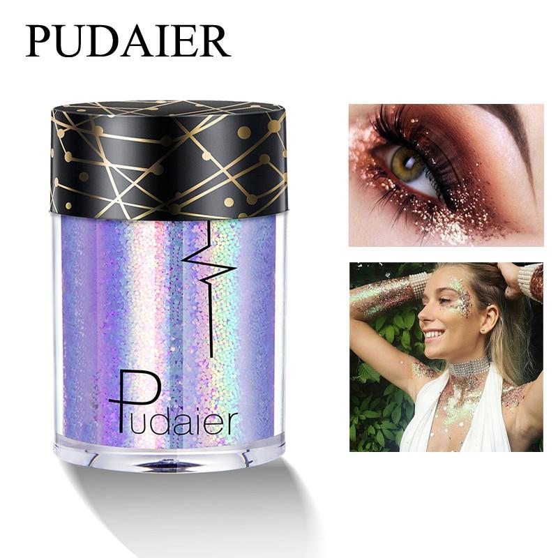 Pudaier Shimmer Holographic Sequins Glitter Tattoo Glitter Eyes Skin Highlighter Festival Pigment for Face Lips Body Glitter slide wallet