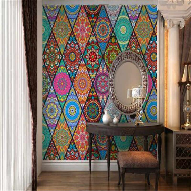 Folk Custom Photo Wallpapers Abstract Art Murals Southeast Asia Flowers Wall Papers for Living Room Home Decor Bedrooms Murals