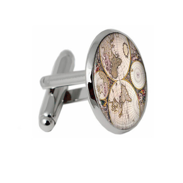 Old World Map Plated Vintage Cufflinks