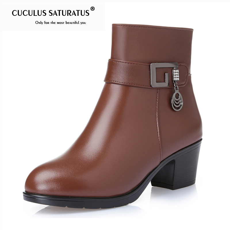 Cuculus Women Boots Thick Heel Platform Shoes Autumn Winter Wool Boots For Women Genuine Leather Ankle