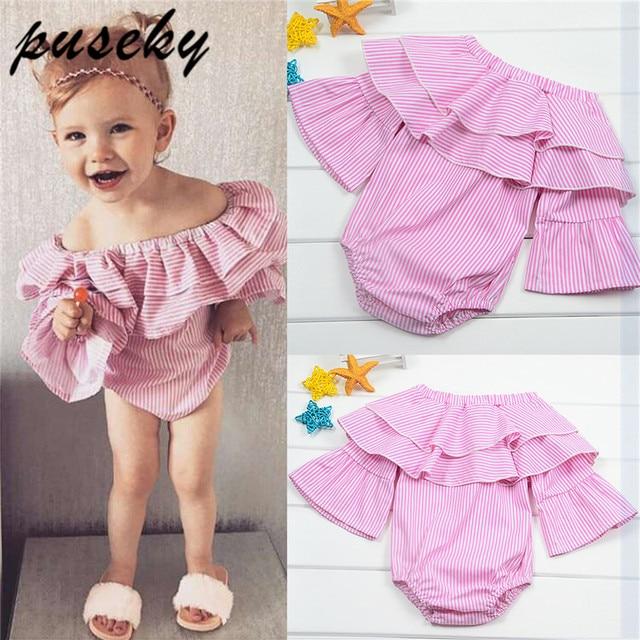 80a2836c5 Puseky 2018 Cute Baby Romper Ruffles Stripe Jumpsuit Newborn Baby ...