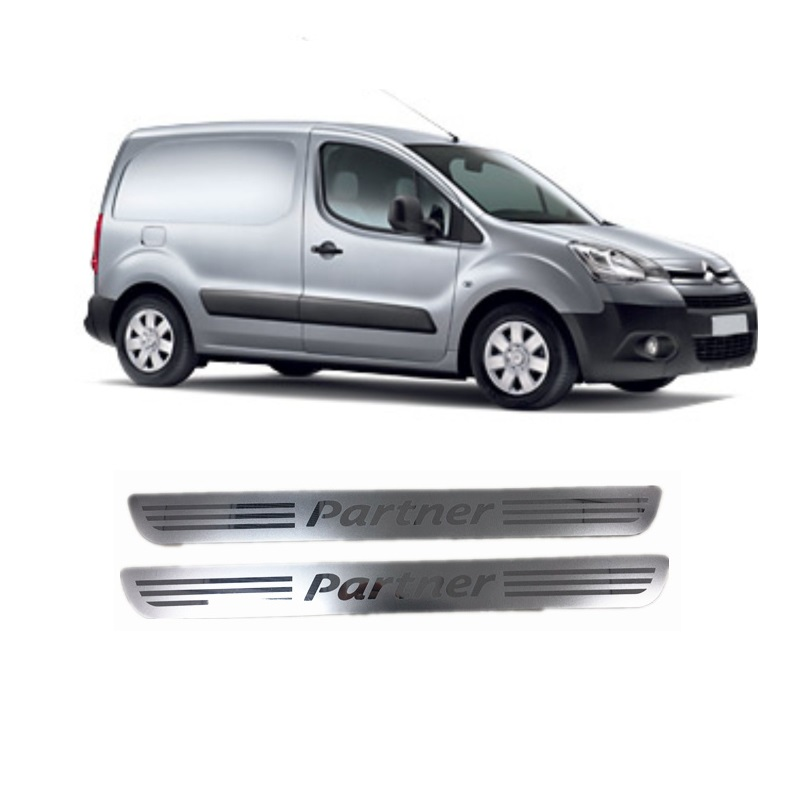 Suitable For Peugeot Partner MK2 Tepee 2008 Onwrads 2 Pcs Front Door SUS Scuff Plate Door Sill Cover Trim