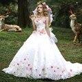 Elegante por encargo flores largo vestido de Quinceañera 2016 appliques del cordón del amor del vestido de bola del debutante vestido vestido 15 anos
