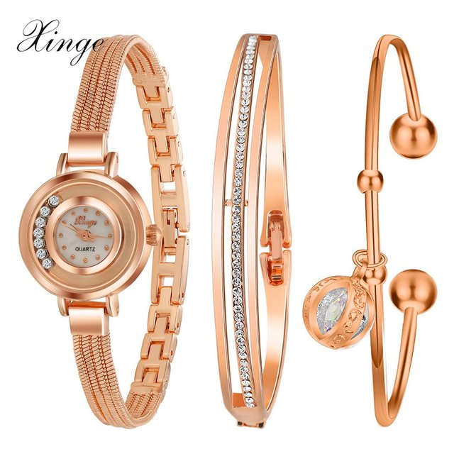 b816d464e28 Xinge Famous Brand Luxury Watch Women Fashion Rose Bracelet Watch Set Dress  Jewelry Clock Ladies Casual