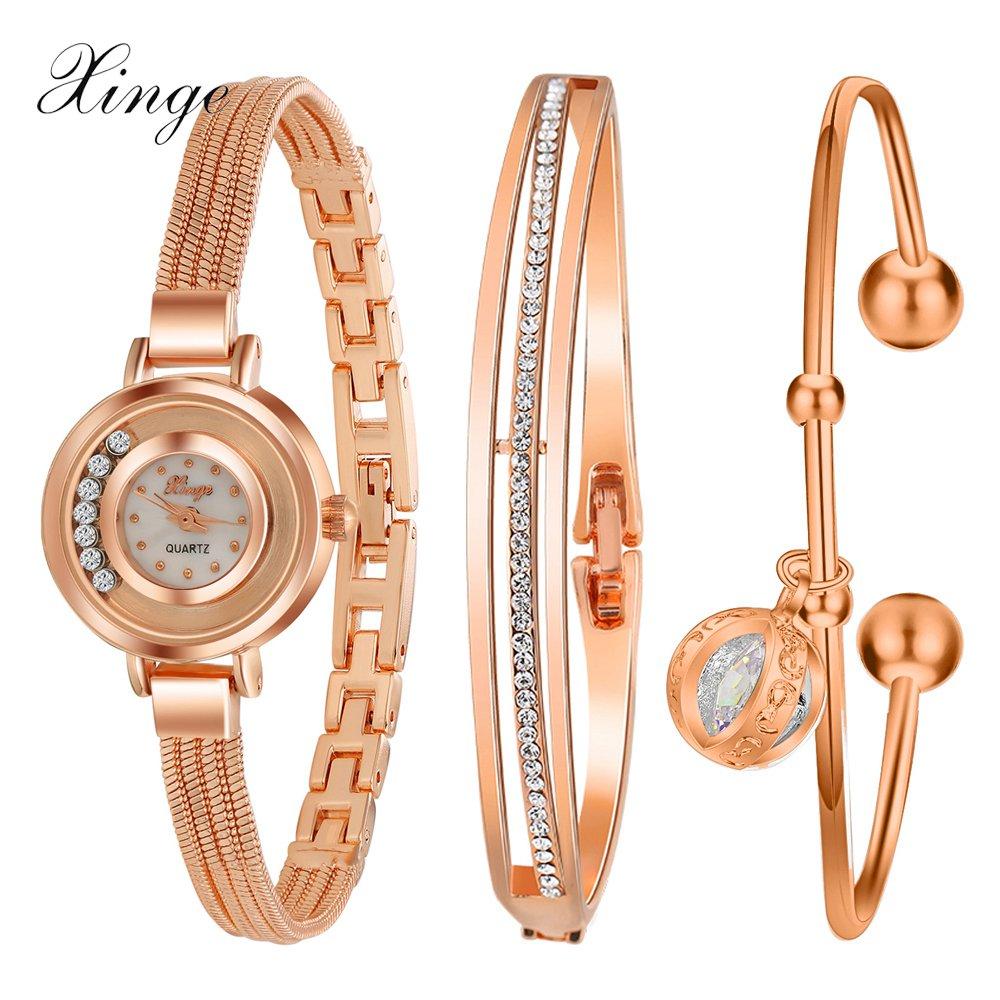 Prix pour Xinge célèbre marque montre de luxe femmes de mode rose bracelet montre ensemble robe bijoux horloge dames casual quartz montre-bracelet