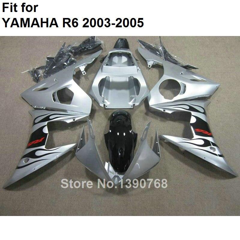New motorcycle fairing kit for Yamaha YZF R6 2003 2004 2005 silver plastic fairings set YZFR6 03 04 05 BC86