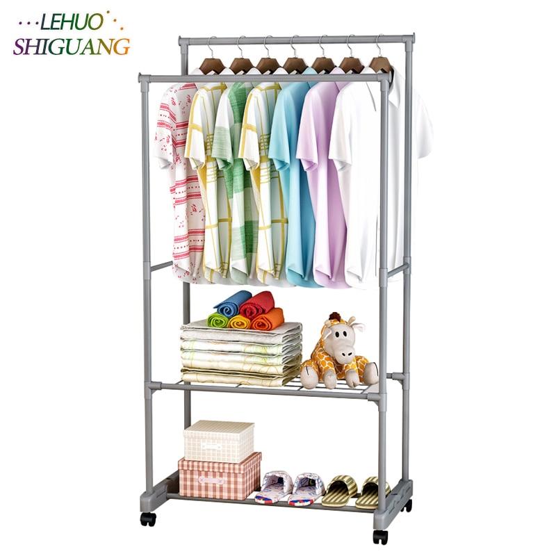 Double layer Shoe rack drying racks balcony adjustable double pole floor Clothes rod home living room bedroom hangers Coat rack
