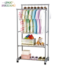 Double layer Shoe rack drying racks balcony adjustable double pole floor Clothes rod home living room bedroom hangers Coat rack