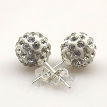 24 Pairs/Lot Clear Rhinestone Shamballa Ear Nail Silver Plated Studs Free Shipping