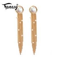 FENASY Handmade Freshwater Pearl bohemian long tassel earrings accessories fine jewelry geometry big party earrings for women