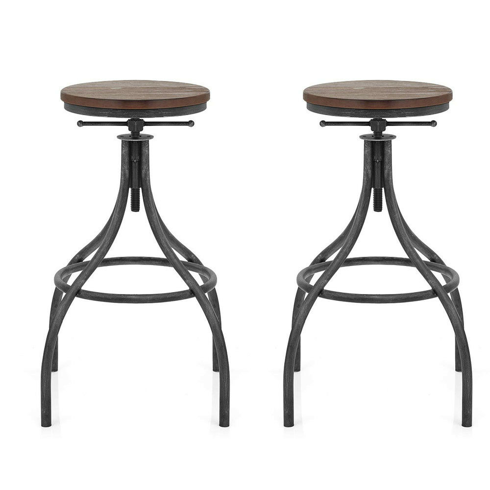 Set Of 2-Industrial Bar Stool Swivel Wood Seat Counter Height Adjustable-27-31