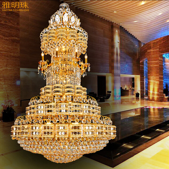 Luxurious chandeliers compound floor villa living room lamp droplight gold bronze bedroom light dining-room lamp, wrought iron