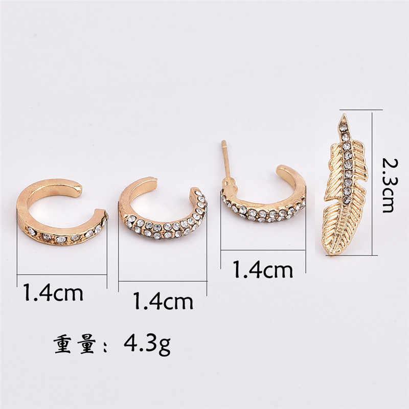 4 unids/set de cristal bohemio pendiente de pluma pendientes para mujeres Vintage Color oro oreja Cuff Ethnic pendientes pequeños regalo de joyas de fiesta