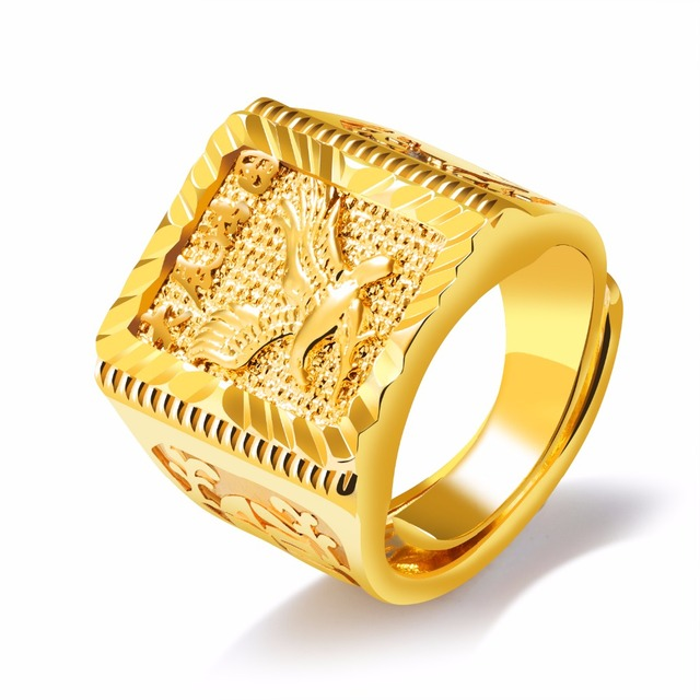 Pure Gold Color Engraved Eagle Mens Ring Hip hop Jewelry Cool Big