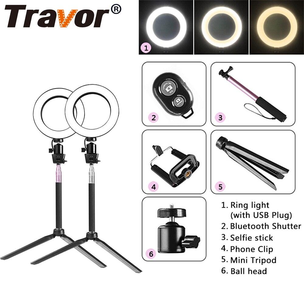 Travor Dimmbare 64 stücke LED Selfie Ring Licht 3200-5500 karat Youtube Video Live Foto Studio Licht Mit Telefon halter USB Stecker Stativ