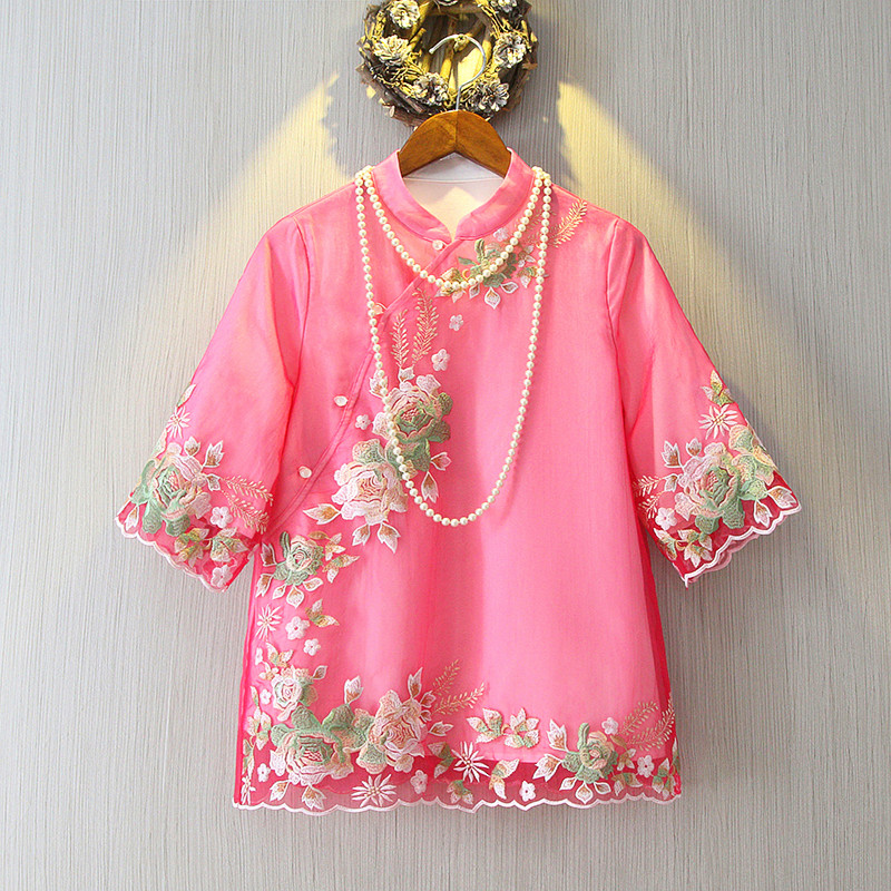 2019 Chinese flowers embroidery short sleeve women shirts jackets