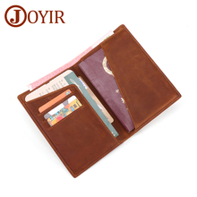 JOYIR Genuine Leather Passport Wallet Men Travel Passport Credit Card Holder Multifunction Business Vintage Passport Holder 2019 new pu leather passport cover holder women men travel credit card holder travel id card document passport holder