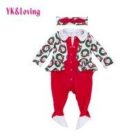 Warm Winter Baby Christmas Clothing Newborn Baby Red Romper Santa Claus Children Xmas Gift 1pcs 2
