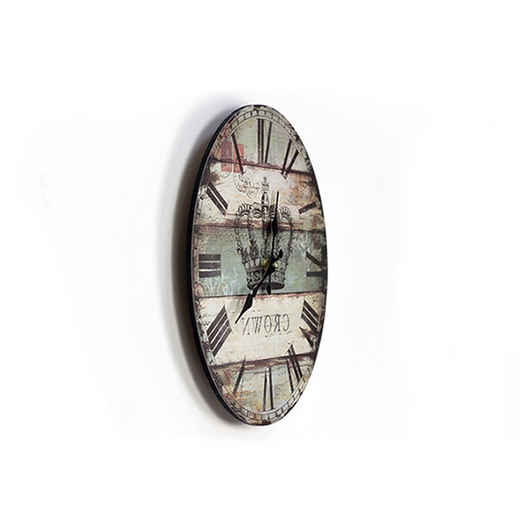 Aliexpresscom Buy Roman Numerals Crown Round Wooden Wall Clock