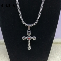 2017 New Cross Necklace Pendant Christian Jewelry Wholesale 316L Stainless Steel Chain Cross hip hop Necklace chokers CARA0006