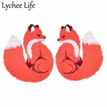 Lychee Life 2 шт. вышитая нашивка с лисой ручной работы DIY милые нашивки практичные для пришивания на одежду сумки аксессуары украшения