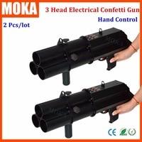 2 Pcs/lot 3 shot confetti gun electrical confetti dj gun 3 head electric confetti cannon Blast 8 10M confetti machine cannon
