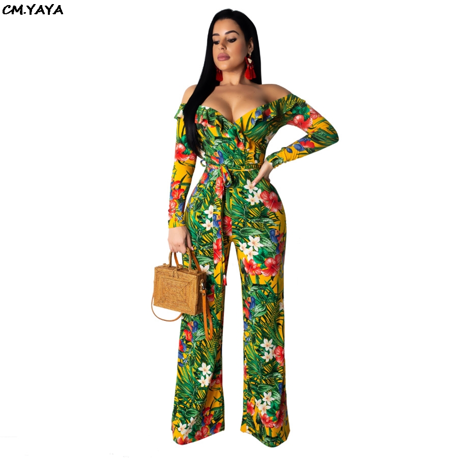 2019 women new floral print ruffles off shoulder plunging