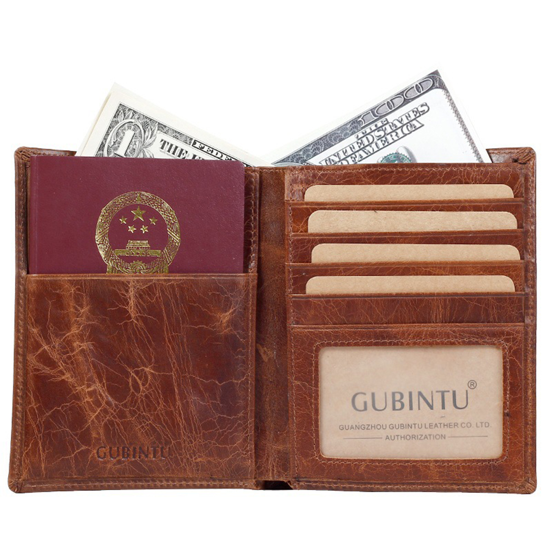 Vintage Genuine Leather Bifold Wallet Real Leather Travel Passport Protection Thin Wallet Tickets Credit Card Holder Short Purse
