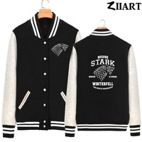 winter is coming direwolf house stark sigil wolves winterfell the north Boys Man fleece Baseball Jackets couple clothes ZIIART