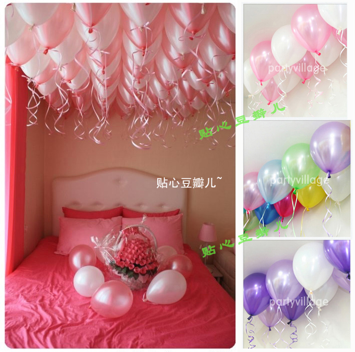 Free shipping Wedding decoration multi colored pearl balloon full