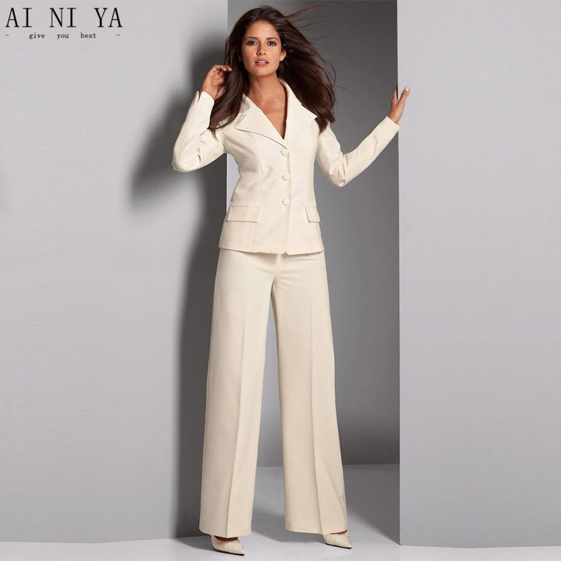 Ivory Women Trouser Suit Formal Ladies Elegant Pant Suit Slim Fit Female Office Uniform 2 Piece Suits Three Buttons Custom Made