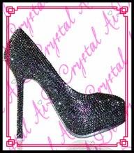 Aidocrystal Plattform Sexy Frauen Pumps schwarz kristall High Heels Schuhe Runde Kappe Mode Frauen Hochzeit Schuhe