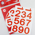 132pcs/lot  number stickers 6 color 30mm PVC sticker for office party
