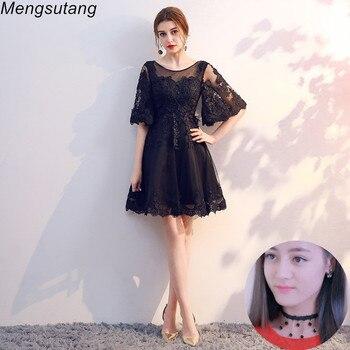 5c8b3492d38 Халат de soiree черные модные короткие вечерние платья с открытой спиной  пузырь рукава vestido de festa платья для выпускного вечера Вечернее платье