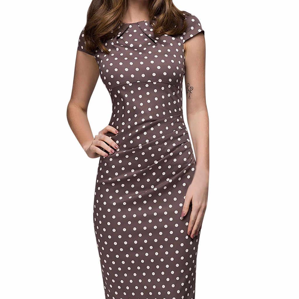 Zomer Jurk 2019 Polka Dot Print Mid Calf Jurk Elegante Mode Slim Fit Kleding Runway Jurk Formele Kantoor Jurk Vestidos